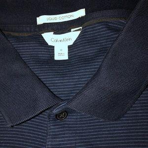 Calvin Klein Striped Blue Short Sleeve Polo